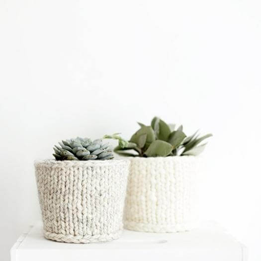 Knit Planter Cover Personalized Mothers Day DIY Homemade Crafting Gift Ideas Inspiration How To Make Tutorials Recipes Gifts To Make