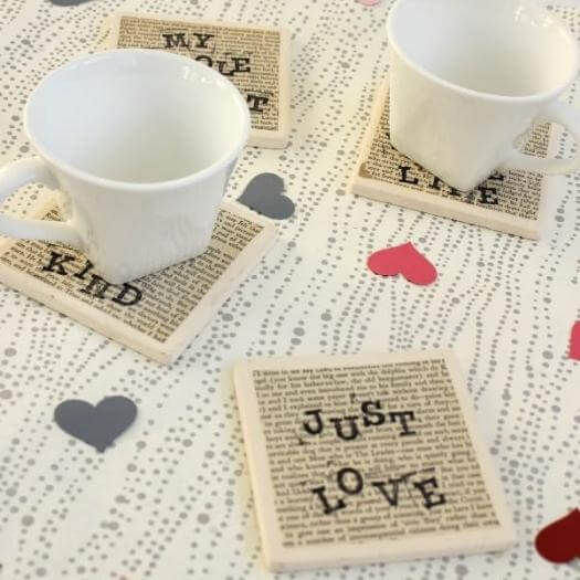 Love Quote Coasters Cheap Affordable Mothers Day DIY Homemade Crafting Gift Ideas Inspiration How To Make Tutorials Recipes Gifts To Make