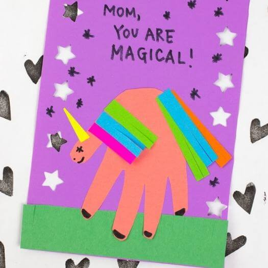 Magical Unicorn Card Kids Mothers Day DIY Homemade Crafting Gift Ideas Inspiration How To Make Tutorials Recipes Gifts To Make