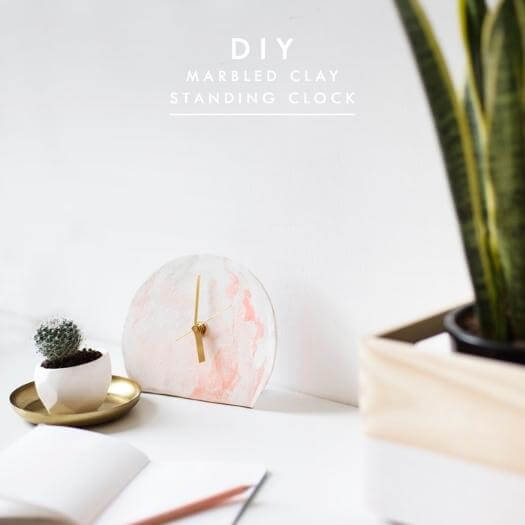 Marbled Standing Clock Unique Mothers Day DIY Homemade Crafting Gift Ideas Inspiration How To Make Tutorials Recipes Gifts To Make