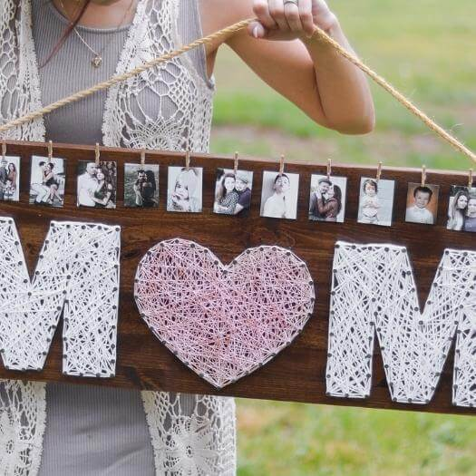 Mom String Art Unique Mothers Day DIY Homemade Crafting Gift Ideas Inspiration How To Make Tutorials Recipes Gifts To Make