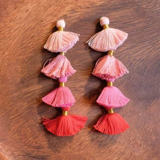 Multicolor Tassel Earrings Kids Mothers Day DIY Homemade Crafting Gift Ideas Inspiration How To Make Tutorials Recipes Gifts To Make