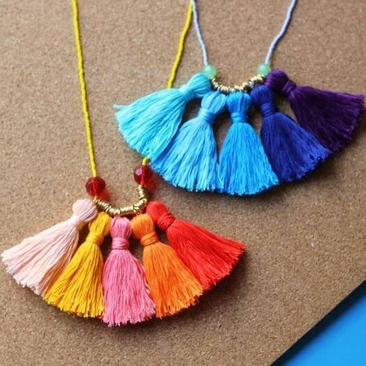 Ombré Tassel Necklace Kids Mothers Day DIY Homemade Crafting Gift Ideas Inspiration How To Make Tutorials Recipes Gifts To Make