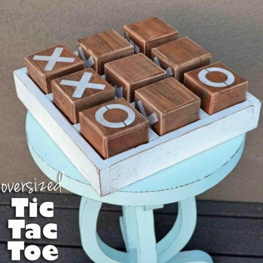 Oversized Tic Tac Toe Unique Mothers Day DIY Homemade Crafting Gift Ideas Inspiration How To Make Tutorials Recipes Gifts To Make