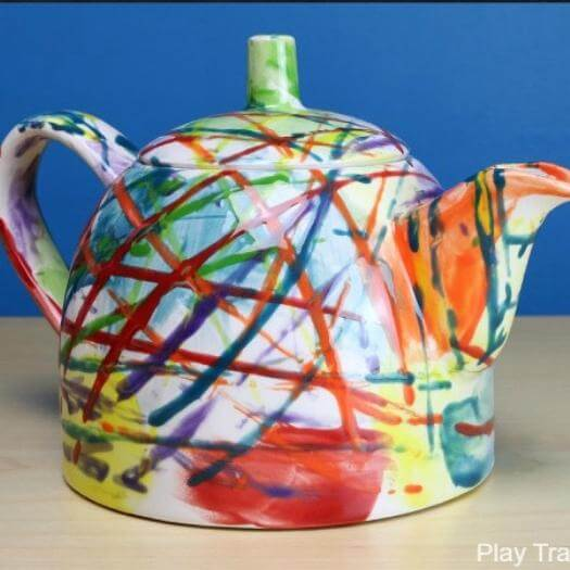 Painted Ceramic Teapot Personalized Mothers Day DIY Homemade Crafting Gift Ideas Inspiration How To Make Tutorials Recipes Gifts To Make
