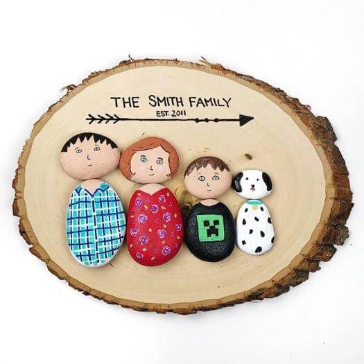 Painted Rock Family Unique Mothers Day DIY Homemade Crafting Gift Ideas Inspiration How To Make Tutorials Recipes Gifts To Make