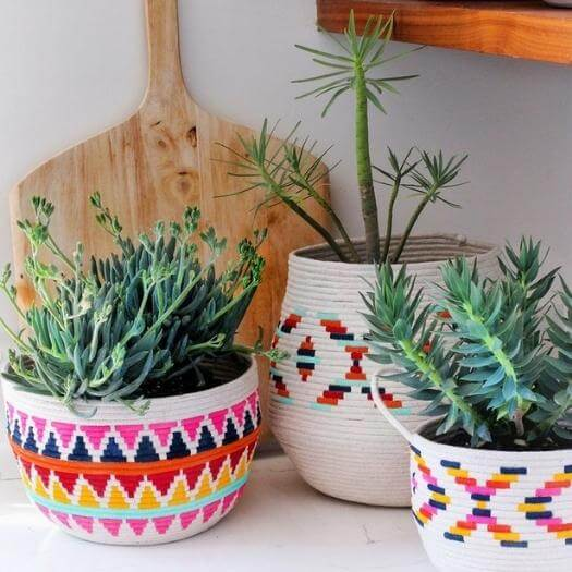 Painted Rope Basket Best Mothers Day DIY Homemade Crafting Gift Ideas Inspiration How To Make Tutorials Recipes Gifts To Make