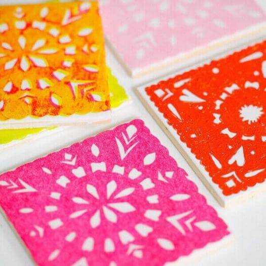Papel Picado Coasters Mexican Mothers Day DIY Homemade Crafting Gift Ideas Inspiration How To Make Tutorials Recipes Gifts To Make