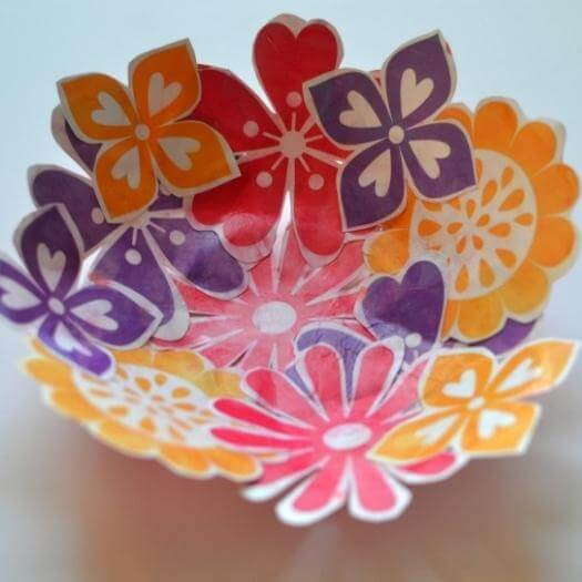 Paper Flower Bowl Easy Last Minute Mothers Day DIY Homemade Crafting Gift Ideas Inspiration How To Make Tutorials Recipes Gifts To Make