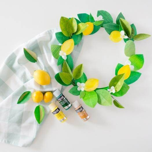 Paper Lemon Wreath Best Mothers Day DIY Homemade Crafting Gift Ideas Inspiration How To Make Tutorials Recipes Gifts To Make