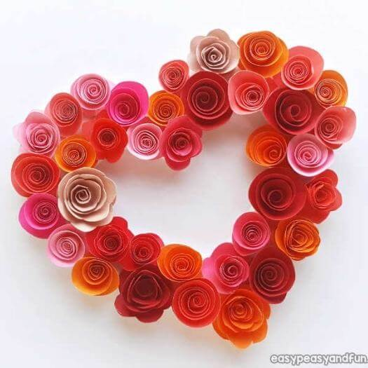 Paper Roses Heart Kids Mothers Day DIY Homemade Crafting Gift Ideas Inspiration How To Make Tutorials Recipes Gifts To Make