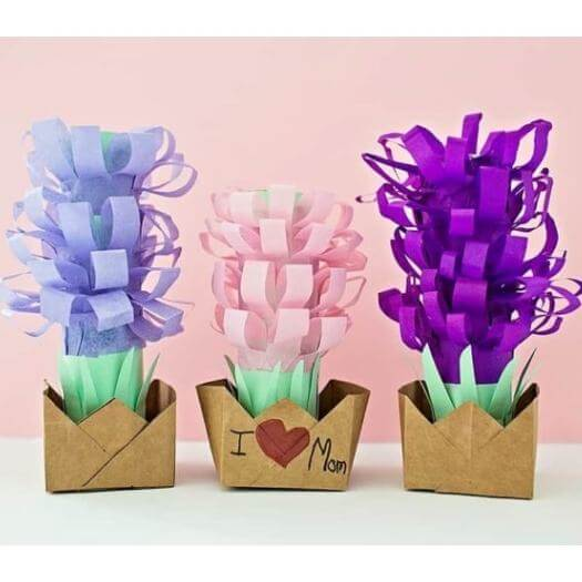 Paper Tissue Hyacinth Pots Kids Mothers Day DIY Homemade Crafting Gift Ideas Inspiration How To Make Tutorials Recipes Gifts To Make