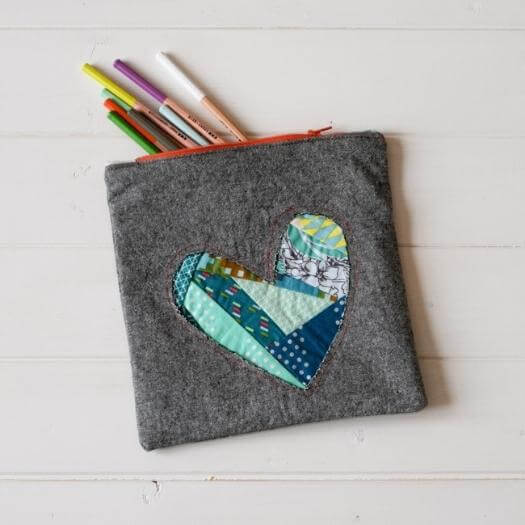 Patchwork Heart Zipper Pouch Sister Mothers Day DIY Homemade Crafting Gift Ideas Inspiration How To Make Tutorials Recipes Gifts To Make