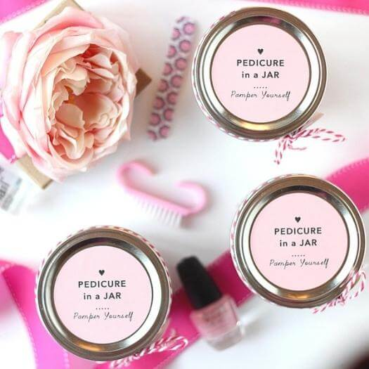 Pedicure in a Jar Best Friend Mothers Day DIY Homemade Crafting Gift Ideas Inspiration How To Make Tutorials Recipes Gifts To Make