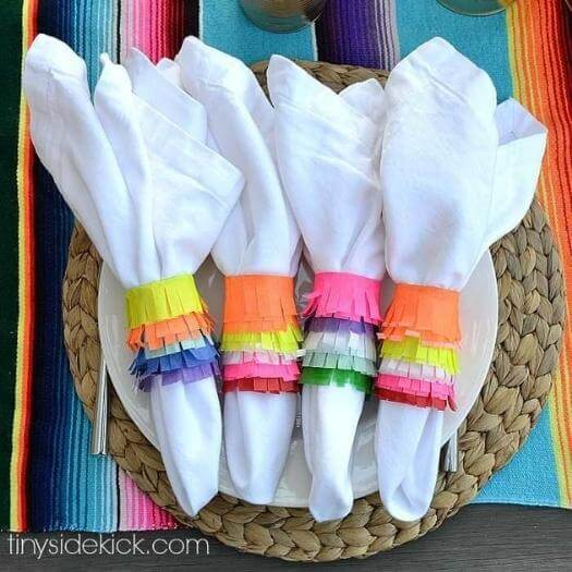 Piñata Napkin Rings Mexican Mothers Day DIY Homemade Crafting Gift Ideas Inspiration How To Make Tutorials Recipes Gifts To Make