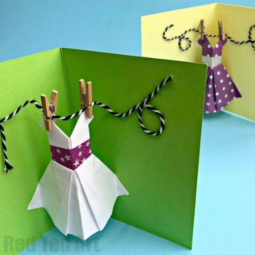 Pop Up Dress Card Easy Last Minute Mothers Day DIY Homemade Crafting Gift Ideas Inspiration How To Make Tutorials Recipes Gifts To Make