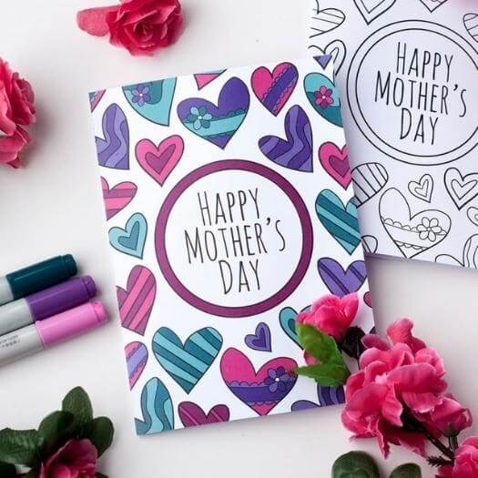 Printable Colorful Cards Easy Last Minute Mothers Day DIY Homemade Crafting Gift Ideas Inspiration How To Make Tutorials Recipes Gifts To Make