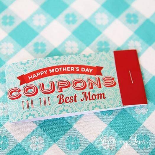 Printable Mother's Day Coupons Easy Last Minute Mothers Day DIY Homemade Crafting Gift Ideas Inspiration How To Make Tutorials Recipes Gifts To Make