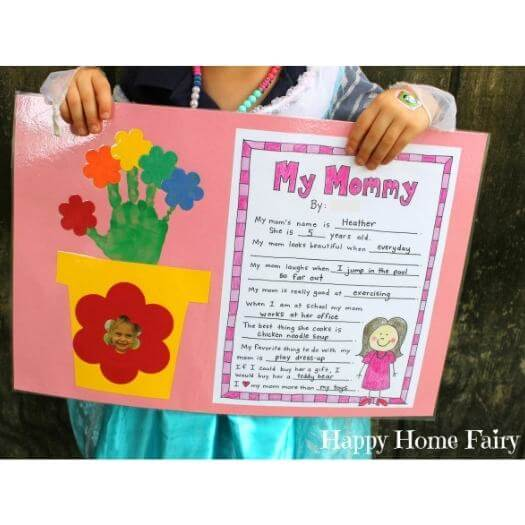 Printable Mother's Day Project Kids Mothers Day DIY Homemade Crafting Gift Ideas Inspiration How To Make Tutorials Recipes Gifts To Make
