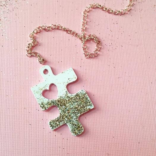 Puzzle Piece Necklace Personalized Mothers Day DIY Homemade Crafting Gift Ideas Inspiration How To Make Tutorials Recipes Gifts To Make