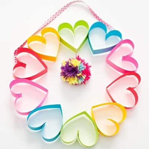 Rainbow Wreath Kids Mothers Day DIY Homemade Crafting Gift Ideas Inspiration How To Make Tutorials Recipes Gifts To Make