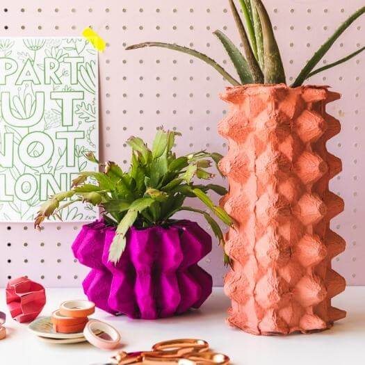 Recycled Egg Carton Vase Kids Mothers Day DIY Homemade Crafting Gift Ideas Inspiration How To Make Tutorials Recipes Gifts To Make