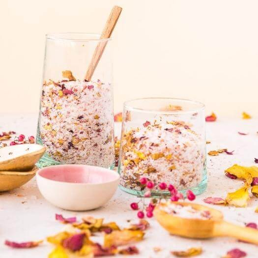 Rose Petal Bath Salts Unique Mothers Day DIY Homemade Crafting Gift Ideas Inspiration How To Make Tutorials Recipes Gifts To Make