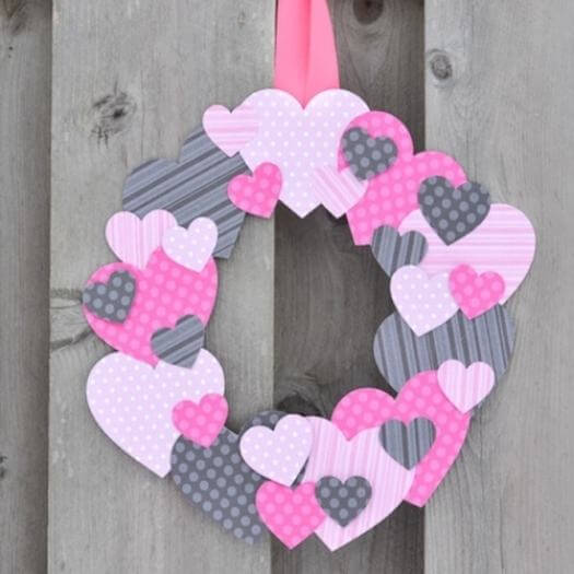 Scrapbook Paper Heart Wreath Kids Mothers Day DIY Homemade Crafting Gift Ideas Inspiration How To Make Tutorials Recipes Gifts To Make