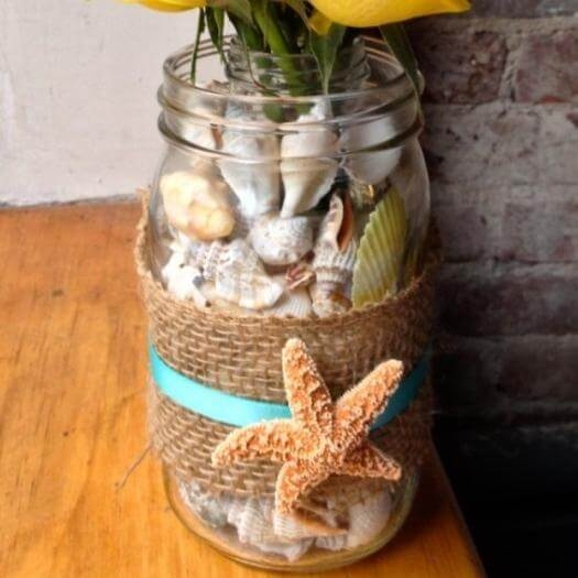Seashell Vase Grandma Mothers Day DIY Homemade Crafting Gift Ideas Inspiration How To Make Tutorials Recipes Gifts To Make