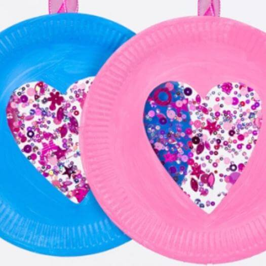 Sequin Paper Plate Heart Suncatchers Easy Last Minute Mothers Day DIY Homemade Crafting Gift Ideas Inspiration How To Make Tutorials Recipes Gifts To Make