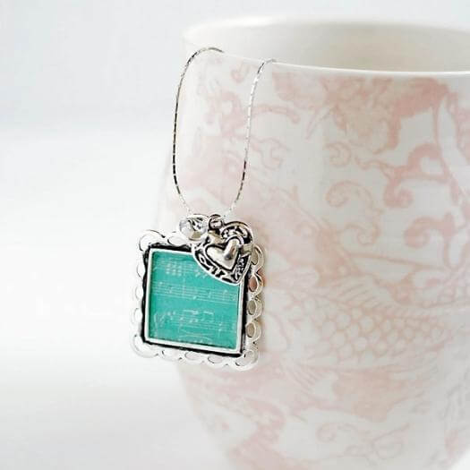 Sheet Music Necklace Personalized Mothers Day DIY Homemade Crafting Gift Ideas Inspiration How To Make Tutorials Recipes Gifts To Make