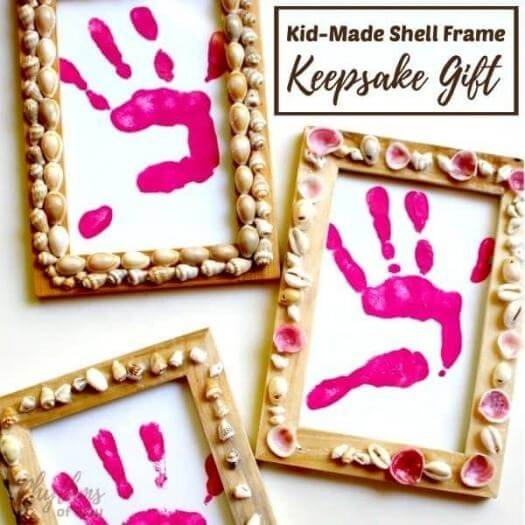 Shell Frame Kids Mothers Day DIY Homemade Crafting Gift Ideas Inspiration How To Make Tutorials Recipes Gifts To Make