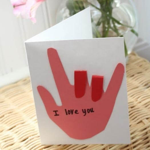 Sign Language Card Cheap Affordable Mothers Day DIY Homemade Crafting Gift Ideas Inspiration How To Make Tutorials Recipes Gifts To Make