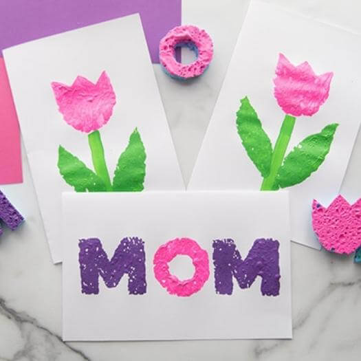 Sponge Painting Best Mothers Day DIY Homemade Crafting Gift Ideas Inspiration How To Make Tutorials Recipes Gifts To Make