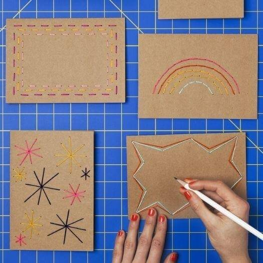 Stitched Cards Grandma Mothers Day DIY Homemade Crafting Gift Ideas Inspiration How To Make Tutorials Recipes Gifts To Make