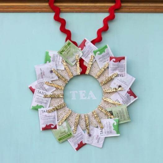 Tea Wreath Personalized Mothers Day DIY Homemade Crafting Gift Ideas Inspiration How To Make Tutorials Recipes Gifts To Make