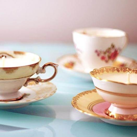 Teacup Candles Best Mothers Day DIY Homemade Crafting Gift Ideas Inspiration How To Make Tutorials Recipes Gifts To Make