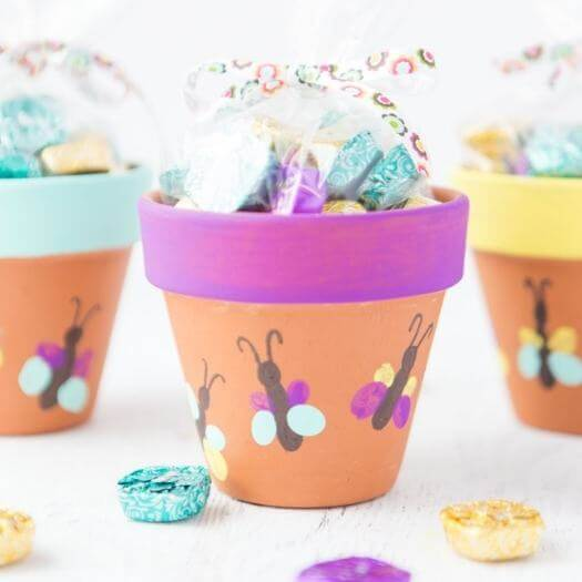Thumbprint Butterfly Flower Pots Kids Mothers Day DIY Homemade Crafting Gift Ideas Inspiration How To Make Tutorials Recipes Gifts To Make