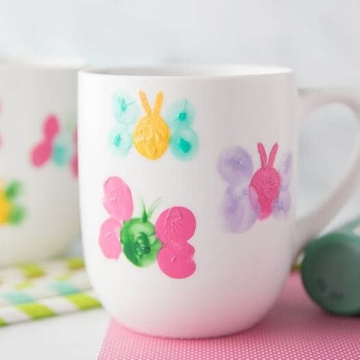Thumbprint Butterfly Mug Kids Mothers Day DIY Homemade Crafting Gift Ideas Inspiration How To Make Tutorials Recipes Gifts To Make