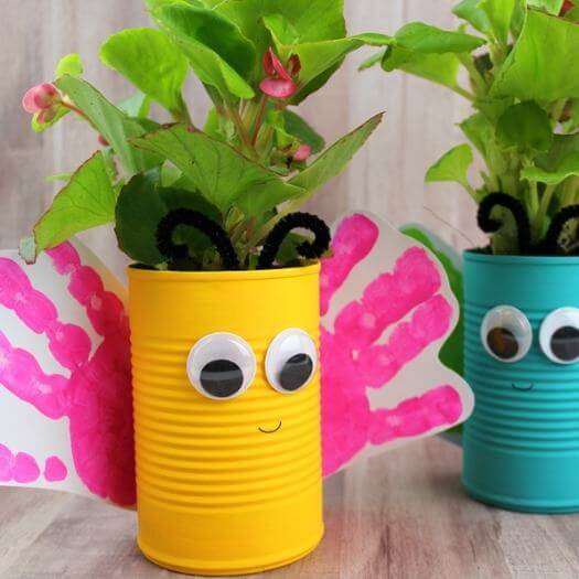Tin Can Butterfly Planters Kids Mothers Day DIY Homemade Crafting Gift Ideas Inspiration How To Make Tutorials Recipes Gifts To Make