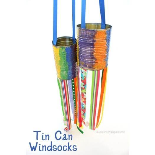 Tin Can Windsocks Kids Mothers Day DIY Homemade Crafting Gift Ideas Inspiration How To Make Tutorials Recipes Gifts To Make