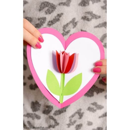 Tulip In A Heart Card Kids Mothers Day DIY Homemade Crafting Gift Ideas Inspiration How To Make Tutorials Recipes Gifts To Make