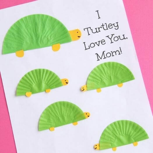 Turtle Themed Card Kids Mothers Day DIY Homemade Crafting Gift Ideas Inspiration How To Make Tutorials Recipes Gifts To Make