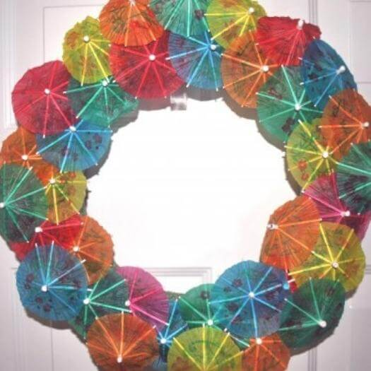 Umbrella Party Wreath Mexican Mothers Day DIY Homemade Crafting Gift Ideas Inspiration How To Make Tutorials Recipes Gifts To Make
