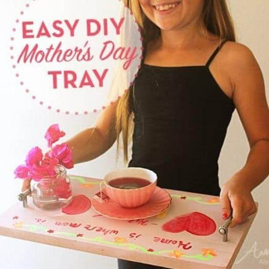 Unique Serving Tray Unique Mothers Day DIY Homemade Crafting Gift Ideas Inspiration How To Make Tutorials Recipes Gifts To Make