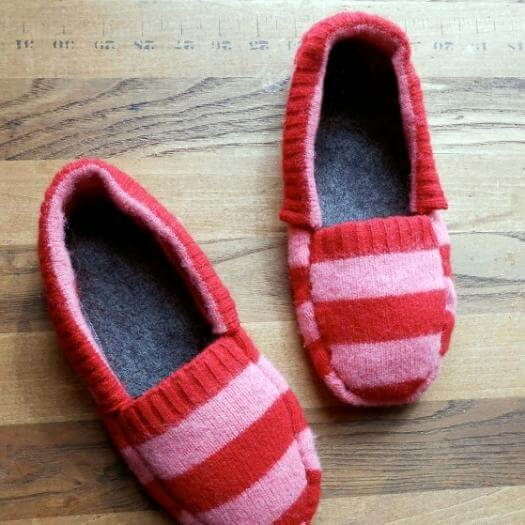 Upcycled Sweater Slippers Unique Mothers Day DIY Homemade Crafting Gift Ideas Inspiration How To Make Tutorials Recipes Gifts To Make