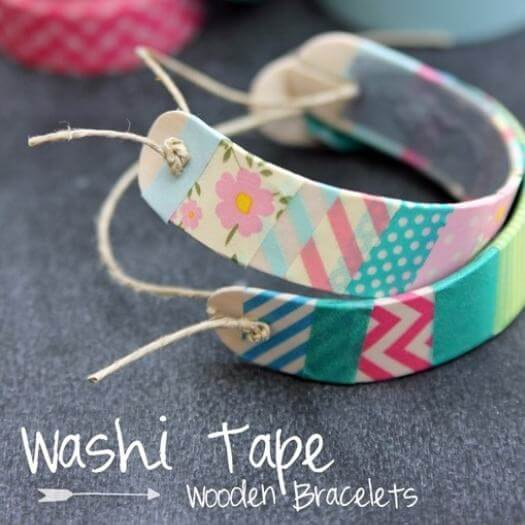 Washi Tape Wooden Bracelet Kids Mothers Day DIY Homemade Crafting Gift Ideas Inspiration How To Make Tutorials Recipes Gifts To Make