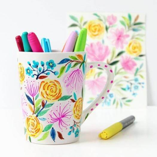 Watercolor Mug Best Friend Mothers Day DIY Homemade Crafting Gift Ideas Inspiration How To Make Tutorials Recipes Gifts To Make