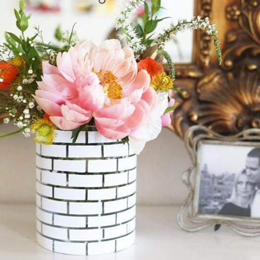 White Brick Vase Unique Mothers Day DIY Homemade Crafting Gift Ideas Inspiration How To Make Tutorials Recipes Gifts To Make