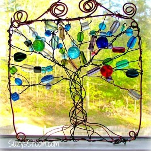 Wire Wrapped Tree Suncatcher Unique Mothers Day DIY Homemade Crafting Gift Ideas Inspiration How To Make Tutorials Recipes Gifts To Make